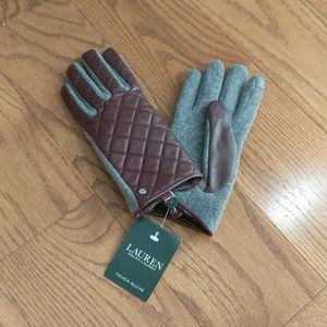Ralph Lauren leather /wool maroon color gloves NWT